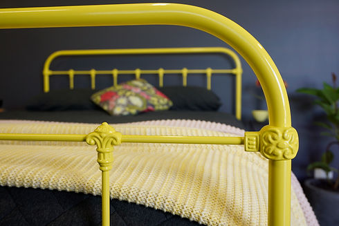 Yorkshire Cast Iron Bed. Australian Made Bed. Wrought Iron bed. Cast Iron Bed. Made in Melbourne. Traditional Bed. Lemon Yellow Bed.