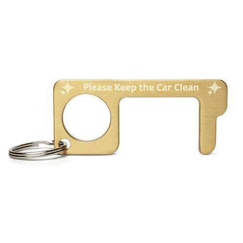 Engraved Brass No Touch Key Ring