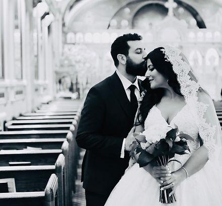 Bride and Groom Wedding Photo at a church