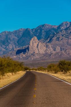 Arizona road in Pima County, near Tucson