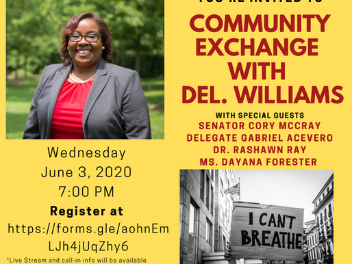 Delegate Nicole A. Williams Newsletter: More Tests, Phase 1, June 2nd Primary and Let's Chat Online