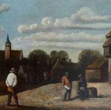 Lot.36 ECOLE HOLLANDAISE DU XIXème SIECLE Scène villageoise Huile sur toile 51 x 116 cm (Réentoilage) Est.800/1.000 €