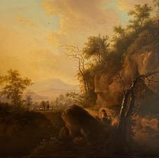 Lot.38 Balthazar Paul OMMEGANCK (1755-1826) La rencontre de bergers Huile sur panneau de bois, signée en bas à droite 35 x 43 cm Est 1.000/1.500 €