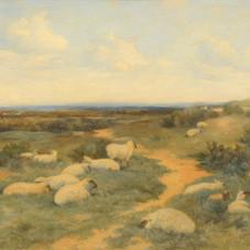 Lot.37 D'après Alfred SISLEY (1839-1899) Moutons dans un pâturage Huile sur panneau de bois, porte une signature en bas à droite 39 x 64,5 cm Ancienne étiquette au dos : Thomas Agnew & Sons, Manchester. Est.3.000/4.000 €