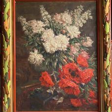 Lot.39 Ernest ROCHER (1872-1938) Bouquet aux pavots Huile sur toile, signée en haut à droite 100 x 80 cm Cadre en bois sculpté et peint- Est 600/800 €