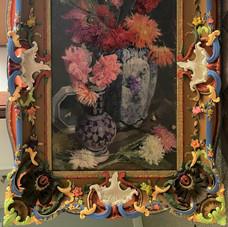 Lot.40 Raymond TELLIER (1897-1985) Deux vases de fleurs Huile sur toile, signée en bas à droite 85 x 50 cm Cadre en bois sculpté et peint.Est 400/600 €