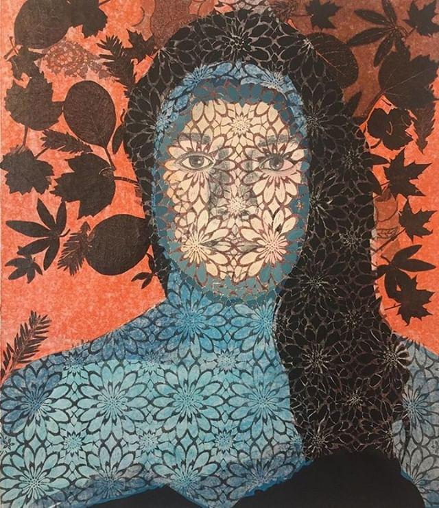 Rahma Naili, «Métamorphose 2 », Paris 2019, techniques mixtes sur toile, 50*43cm.