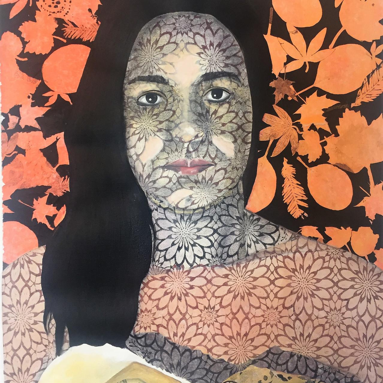 Rahma Naili, « Métamorphose », Paris 2019, techniques mixtes sur toile, 53*47cm.