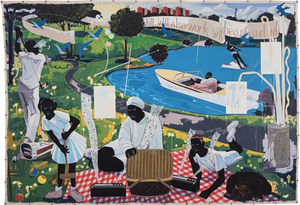 Kerry James Marshall, Past Times, 1997. Sold for $21,114,500 at Sotheby's Contemporary Art Evening auction, May 2018. ARTWORK: Kerry James Marshall.