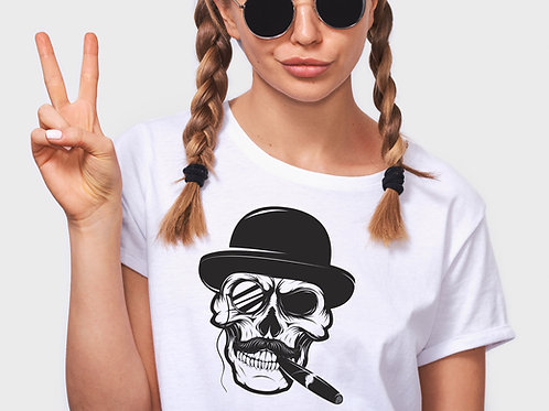 Skull With Bowler Hat and Cigar