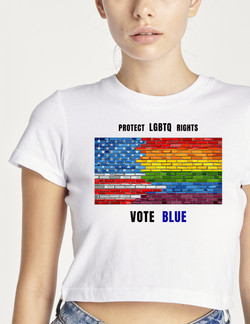 AMY- protect LGBTQ rights (on crop top).