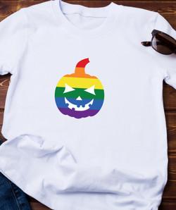 BOO- RAINBOW PUMPKIN (on white shirt)
