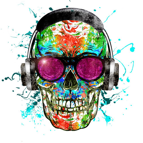 Colorful Skull w/Headphones (Big and Tall)