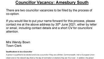 Councillor Vacancy: Amesbury South