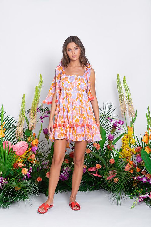 SUNDRESS - PIPPA SHORT DRESS FLOWERS / FLAMINGO POMPONS