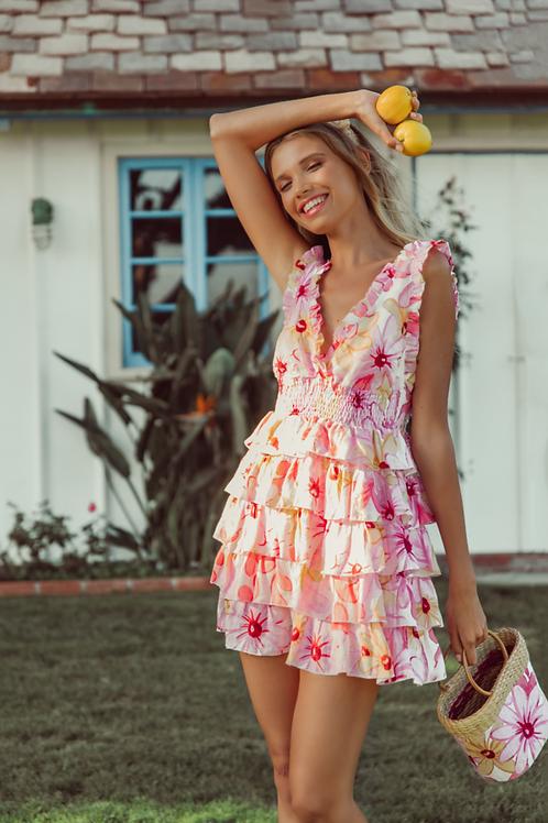SUNDRESS - LOLITA SHORT DRESS RIVIERA LINEN PINK