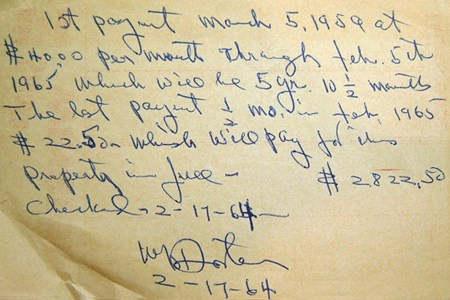 1964 Willie Foster Handwritten Note