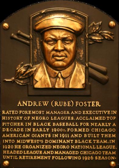 Rube Foster Baseball HOF Fame Plaque