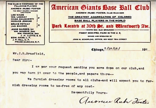 Letter from Rube Foster