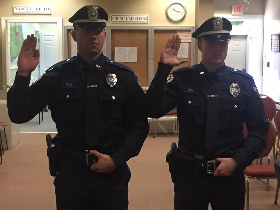 Officers Rapoza and Huber sworn in