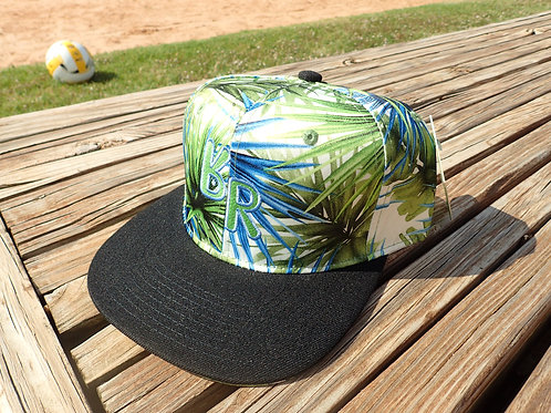 "The Original ""bR"" Black Rabbit Hat - Palm leaf green and blue"