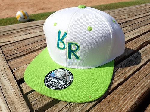 "The Original ""bR"" Black Rabbit Hat - White & Lime"