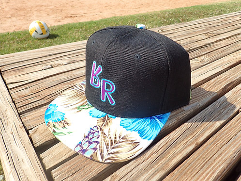 "The Original ""bR"" Black Rabbit Hat - Hibiscus, black w/blue and purple bill"