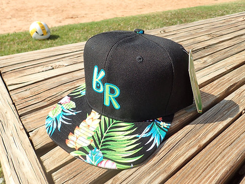 "The Original ""bR"" Black Rabbit Hat - Hibiscus, Black/Blue and Green"