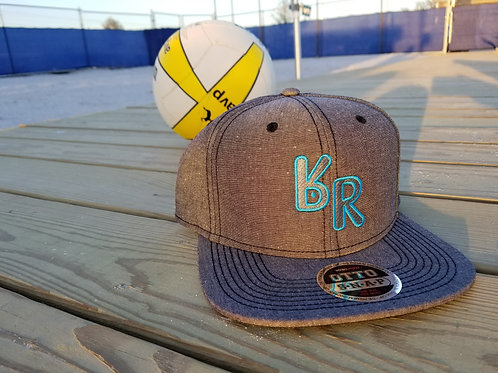 "The Original ""bR"" Black Rabbit Hat - Chambray Snapback"