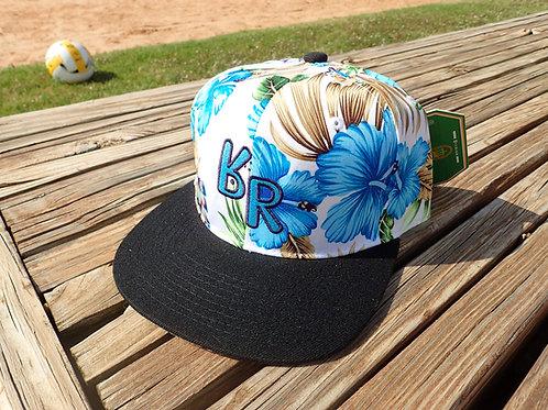 "The Original ""bR"" Black Rabbit Hat - Hibiscus, white, blue & purple w/black bill"