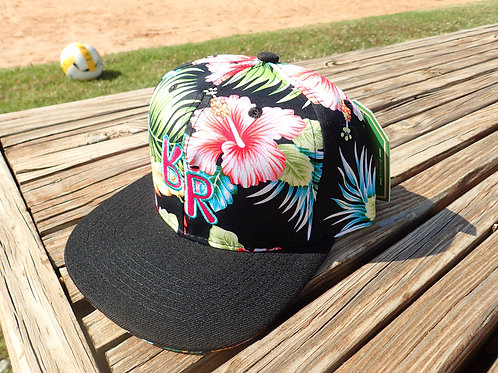 "The Original ""bR"" Black Rabbit Hat - Hibiscus, Pink and Green/Black"