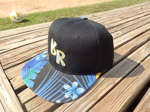 "The Original ""bR"" Black Rabbit Hat - Blue and Yellow Floral, black body"