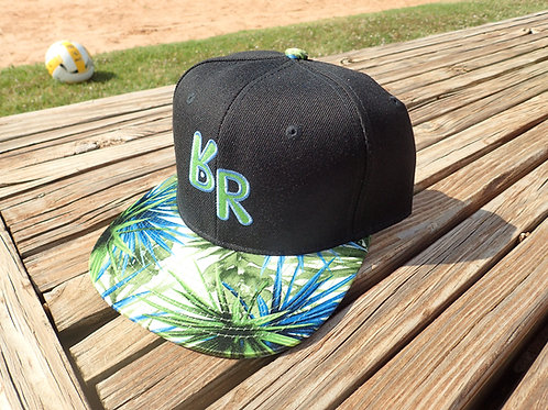 "The Original ""bR"" Black Rabbit Hat - Palm leaf black body w/ green and blue bill"