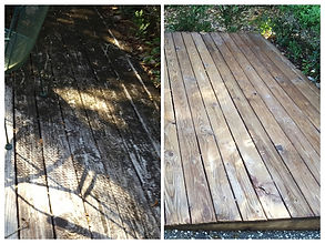 Wood Deck Before Cleaning And After Cleaning. Northwest Florida Pressure Washing
