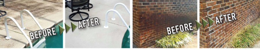 Soft wash pool deck cleaning, irrigation rust removal from brick. Northwest Florida Pressure Washing