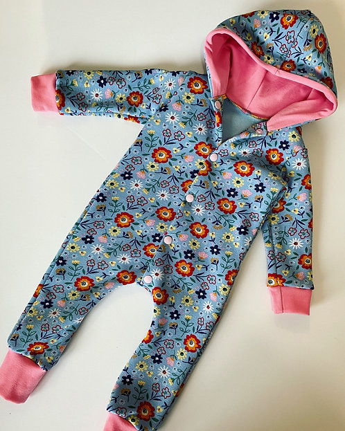 Fleece Floral Hooded Romper