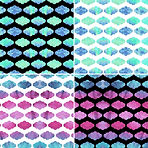 Pink blue green white and black neon tri