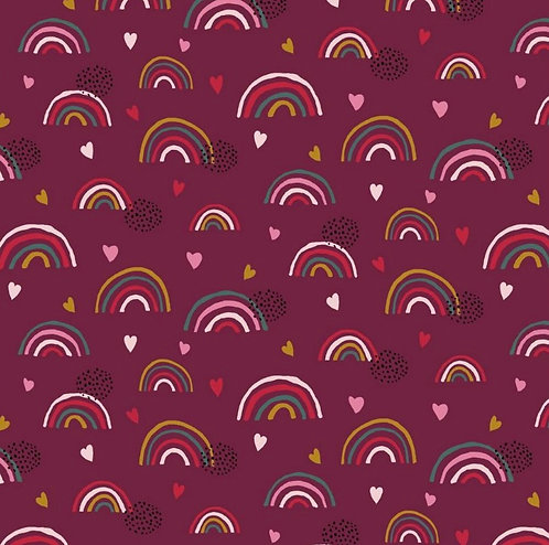 Burgundy Rainbows Twirly Skirt