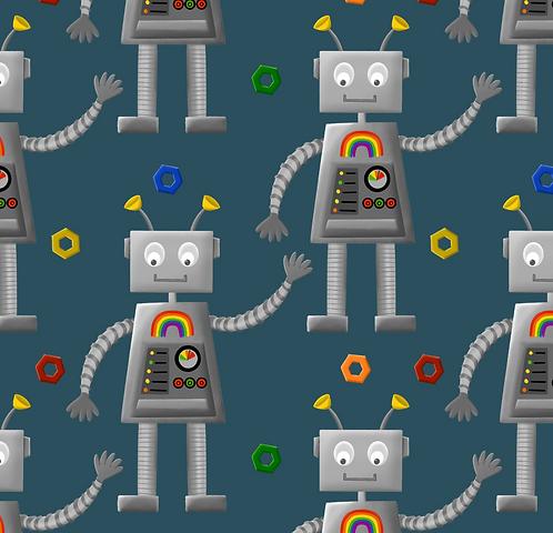 Rainbow Robots Twirly Skirt