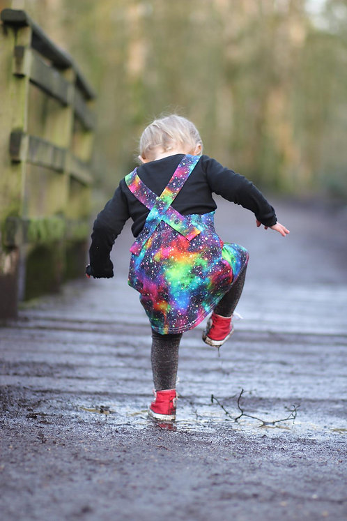 Rainbow Galaxy Dungaree Dress