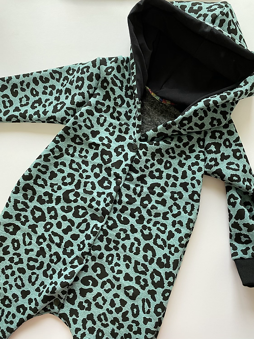 Mint Leopard Hooded Romper