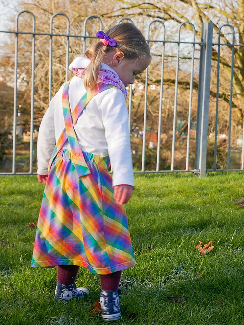 Rainbow Tartan Dungaree Dress
