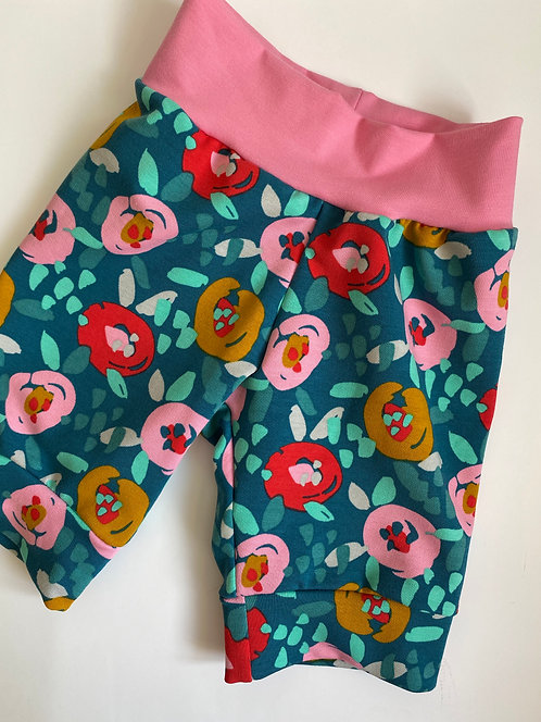 Teal Flowers Shorts