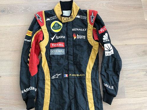 Race used suit 2013 Romain Grosjean Lotus Renault F1 Team