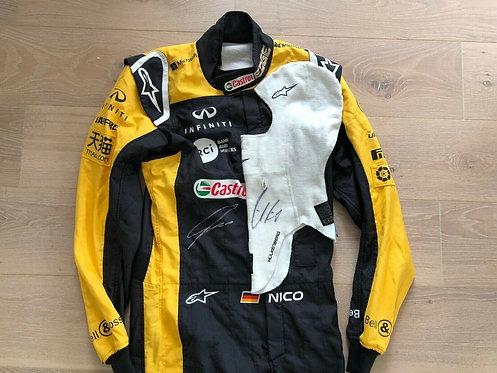Original Race used suit - Nico Hulkenberg - Renault F1 + Balaclava signed
