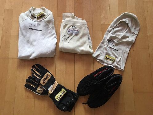 Bundle !Nomex / Shoes / Glove / Balaclava Used - Romain Dumas - Porsche - signed