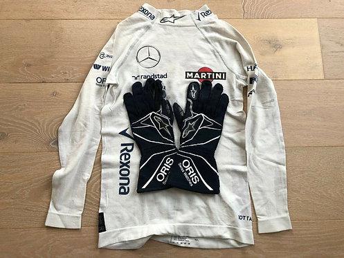 Set : Nomex / Gloves Race used - Valtteri Bottas Williams F1 Mercedes - 2016