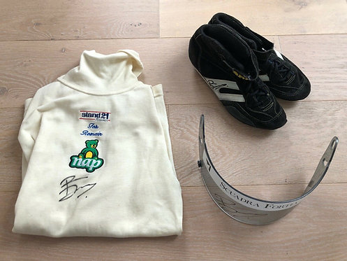 Set Nomex / Visor / Shoes Race used - Romain Dumas - 2003