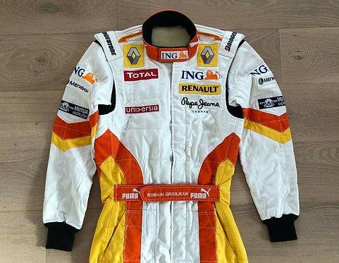 Race used suit 2009 - Romain Grosjean - Renault F1 Team