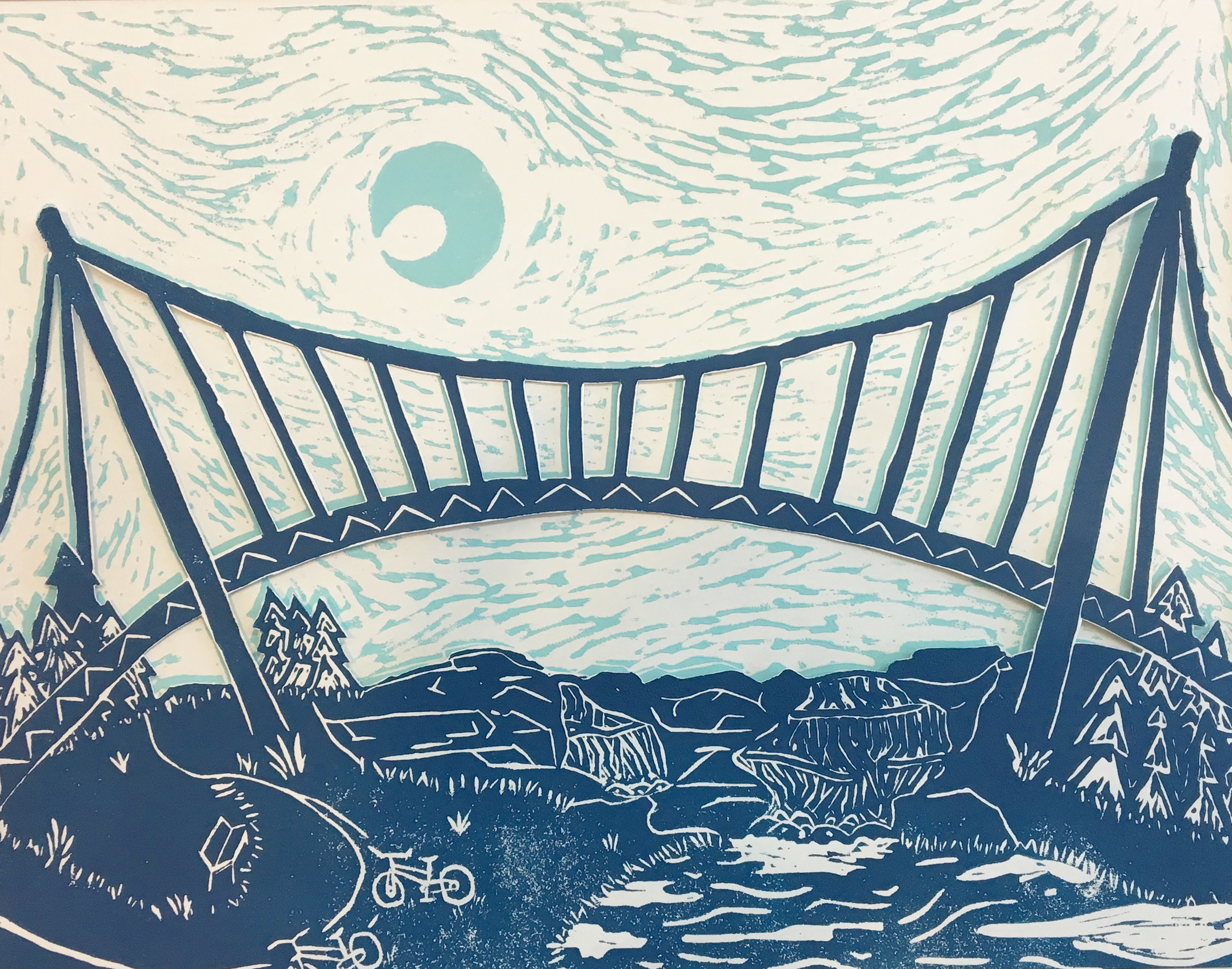 Liberty Bridge Linocut